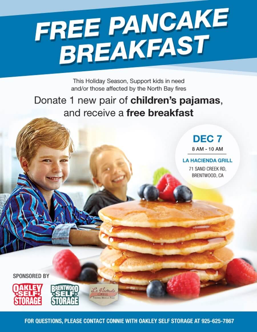 Oakley Self Storage is Proud to Support a Free Pancake Breakfast at La Hacienda Grill