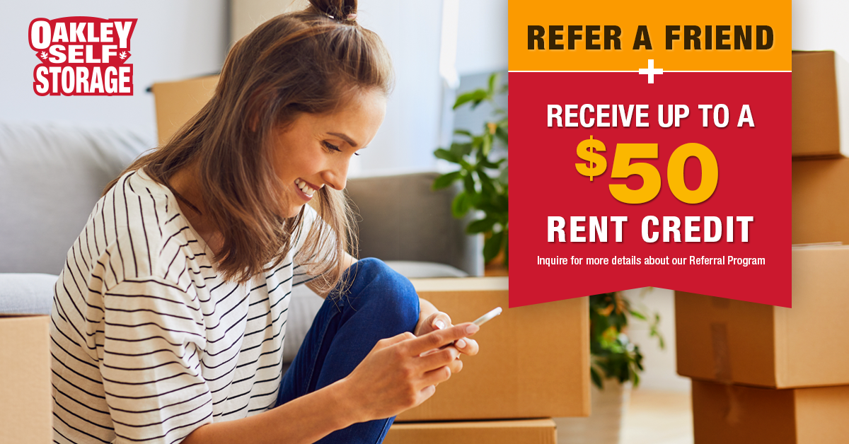 Oakley Self Storage Customers Get Up To $50 Per Referral