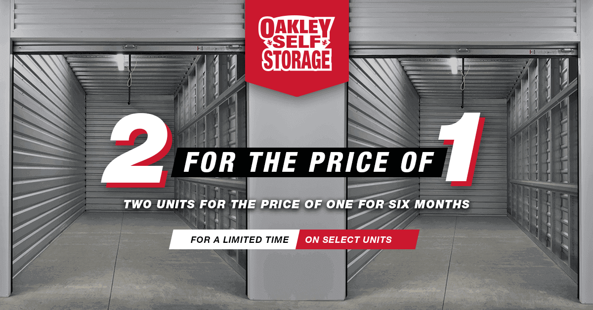 BOGO (Buy One Get One) Offer at Oakley Self Storage